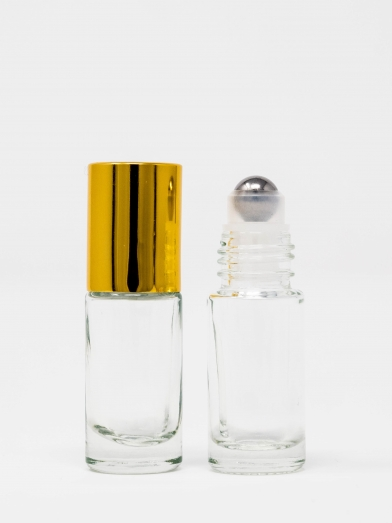roll-on 5ML clair bouchon doré, clear glass roll-on golden cap