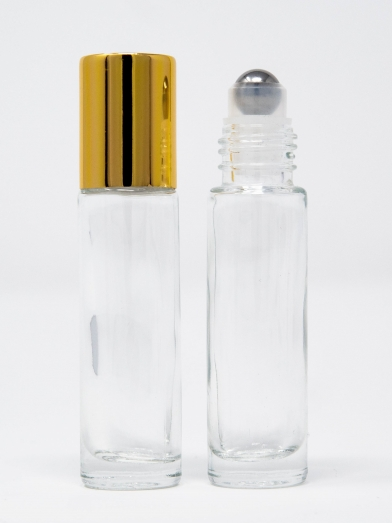 roll-on 9ML clair bouchon doré, clear glass roll-on 9ML golden cap